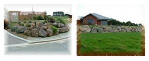 Rockwalls and landscaping.